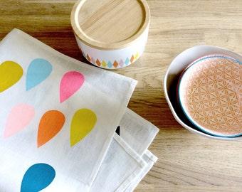 Colourful Raindrop Off White Linen Tea Towel