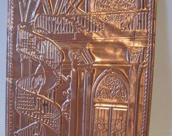 Vintage Copper Post Card Santa Fe Chapel of Loretto Famous Staircase Kopper Kard