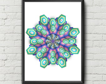 Mandala Art Print Wall Decor Mandala Prints Mandala Digital Art Colorful Art Wall Art. Mandalas Geometric Art - Digital Print Art