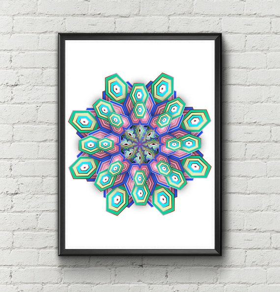 Mandala Art Print Wall Decor Mandala Prints Mandala Digital