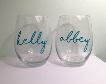 Personalized Wine Glass: Bachelorette, Bridesmaid, Birthday Gift, Will you be my bridesmaid, Bridesmaid Proposal