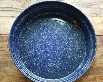 Vintage Dark Blue Large Graniteware Bowl