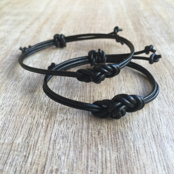 couples leather bracelets his and her bracelet black