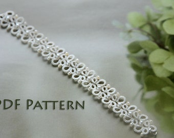 Tatting lace bracelet pdf pattern (Butterfly Garden)