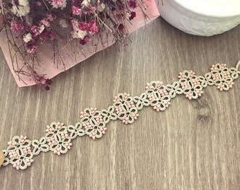 Tatting lace bracelet pdf pattern (Meridian)