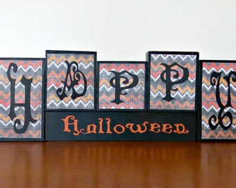 Happ Halloween Block Set, Halloween block set, halloween decoration, wooden blocks, small block set,