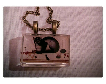 Wearable art  resin pendant with vintage cat image