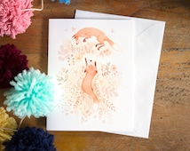 greeting card | card | fox | foxes | animal | nature | flowers | spring | art of foxes | friendship | animal print | birthday card |