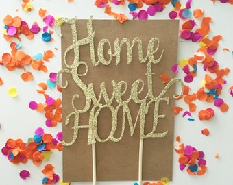 Glitter Home Sweet Home Cake Topper, House Warming Cake, New Home Cupcakes, Key Cake Topper, Congratulations Cake Topper, Welcome Home Cake