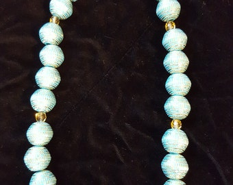 Turquoise and Gold Tribal Necklace and Earring set