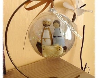Christmas Bauble, Nativity Scene, Mary and Joseph, Christmas, Christmas Gift, Christmas Decoration