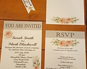 Wedding Invitation set (English Rose) floral, rustic, shabby chic, wedding invitation