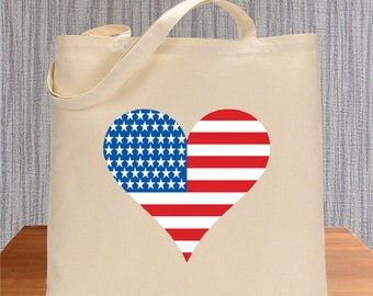 Heart Flag American flag Tote Bag Environmentally Friendly Reuseable Market Bag Gift Cotton Canvas Eco-Friendly shopping grocery 1013