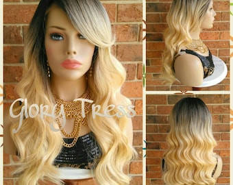 ON SALE // Long Body Wave Lace Front Wigs, 100% Human Hair Blend, Ombre Golden Platinum Blonde, Free Parting Space // ESTHER (Free Shipping)