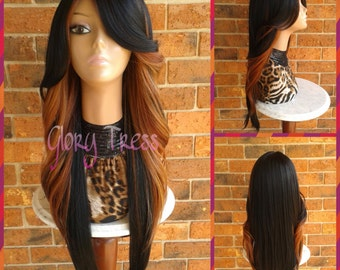 ON SALE //  Long Curly Feathered Flip Lace Front Wig, Black/Blonde Ombre Wig,  Side Swoop Bangs // FIRE (Free Shipping)