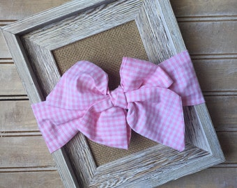 Pretty in Pink Gingham Headwrap--Pink Headwrap--Baby/Toddler Headwrap--Bow Headwrap