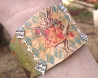 Alice in Wonderland cuff bracelet vintage Alice in Wonderland metal cuff bracelet  Alice in Wonderland jewelry