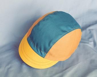 Earthtones cycling cap, Teal, Gold, Ochre cap, Cycle hat, Bicycle cap, Teal cap, Gold cap, Green