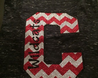 School Spirit Raglan Tee.... Black shirt 3/4 sleeves- Central Wildcats or your sSchool Name and Mascot
