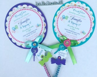 Lollipop Invitation- Candyland Invitations- Candyland party Theme- Lollipop Birthday Party