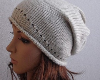 knitted beanie for women, knit slouch hat, handmade beanie hat, womens winter slouch beanie, CHOOSE SIZE