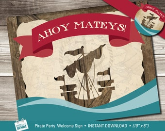 Pirate Birthday Welcome Sign, Pirate Welcome Sign, Ahoy Matey Welcome Sign