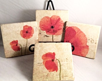 Poppies Coaster Set (includes 4 tiles)