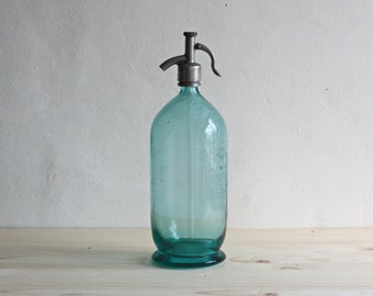 Vintage Seltzer Bottle -  Glass Soda Siphon -  Glass Barware - Turquoise Blue Glass Water Bottle - Soviet Soda Syphon