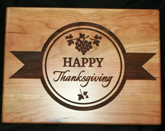 Happy Thanksgiving Cutting Board -  Laser Engraved Thanksgiving Gift
