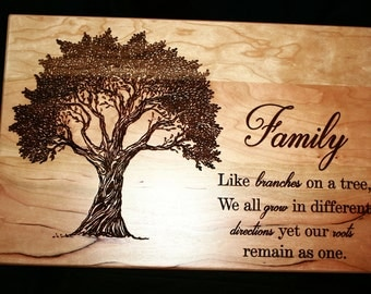 Personalized Family Tree Cutting Board, Anniversary Gift, Custom Wooden Chopping Block, Engraved Housewarming Gift,