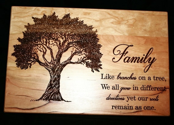 Family Tree Wedding Gift: Personalized Family Tree Cutting Board Anniversary Gift