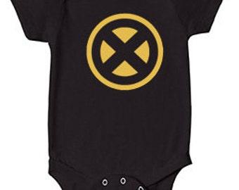 X-Men Gold on Black Baby/Infant Onesie (Marvel, Marvel Comics, Wolverine, Cyclops, Gambit, Rogue, Jean Grey, Storm)