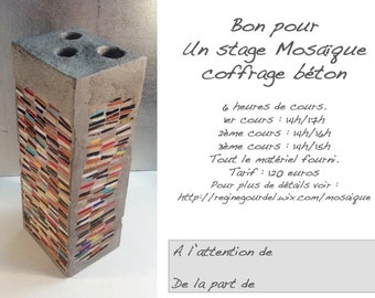 Gift card mosaic formwork concrete