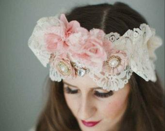vintage headpiece, lace headpiece, vintage floral headpiece