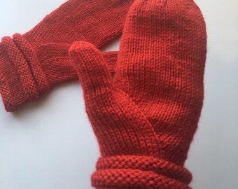 Handknit Red Long-cuff Mittens machine washable