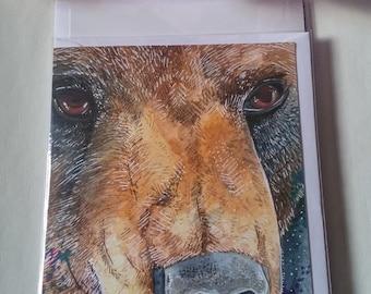 Beautiful brown bear blank greetings card.