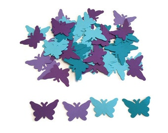 100 Assorted Teal and Purple Butterfly Confetti, Die Cut Butterfly, Baby Shower, Butterfly Theme Party, Butterfly Décor, Baby girl, Birthday