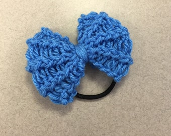Delft Blue Knit Bow Hair Tie/Headband