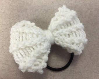 White Knit Bow Hair Tie/Headband