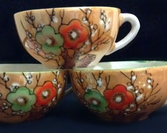 Demitasse Cups with Flower Pattern