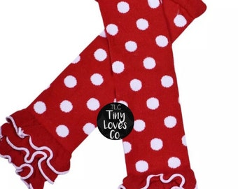 Valentines baby legs. Red and white baby legs. Red baby legs. Polka dot baby legs. Christmas baby.