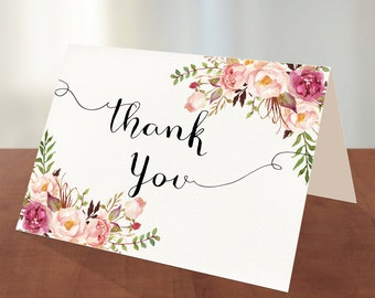 Printable  FOLDABLE Thank you Card, Bridal Shower Digital Files, Floral Thank you, Bridal Thank you, INSTANT Download - PF-18