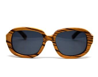 Zebra Wood Sunglasses Polarized Sunglasses Bamboo Sunglasses Wood Accessory Mens  Womens Sunglasses Wood Glasses Wayfarer Eyewear