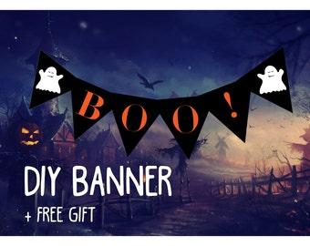 Happy Halloween party banner, printable halloween banner, black and orange halloween party BUNTING pennant flags, halloween party banner diy