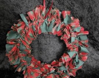 Tartan Shabby Chic Rag Wreath