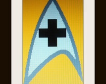Star Trek Medical Symbol- Downloadable Cross Stitch Design Guide & Floss Summary Item #39