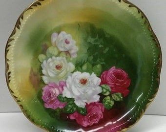 Rare Vintage Antique Plate Handpainted in Germany And Signed by T Duval