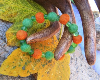 "Bracelet, children bracelet ""vegetables""from felt and beads, Waldorf, jewelry"