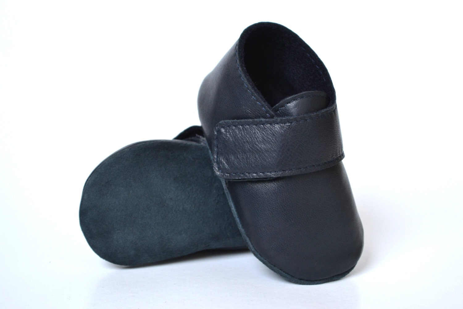 Navy blue baby boy shoes Baby leather shoes Handmade baby