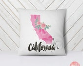 US State California Map Outline Floral Design - Throw Pillow Case, Pillow Cover, Home Decor - TPC1154